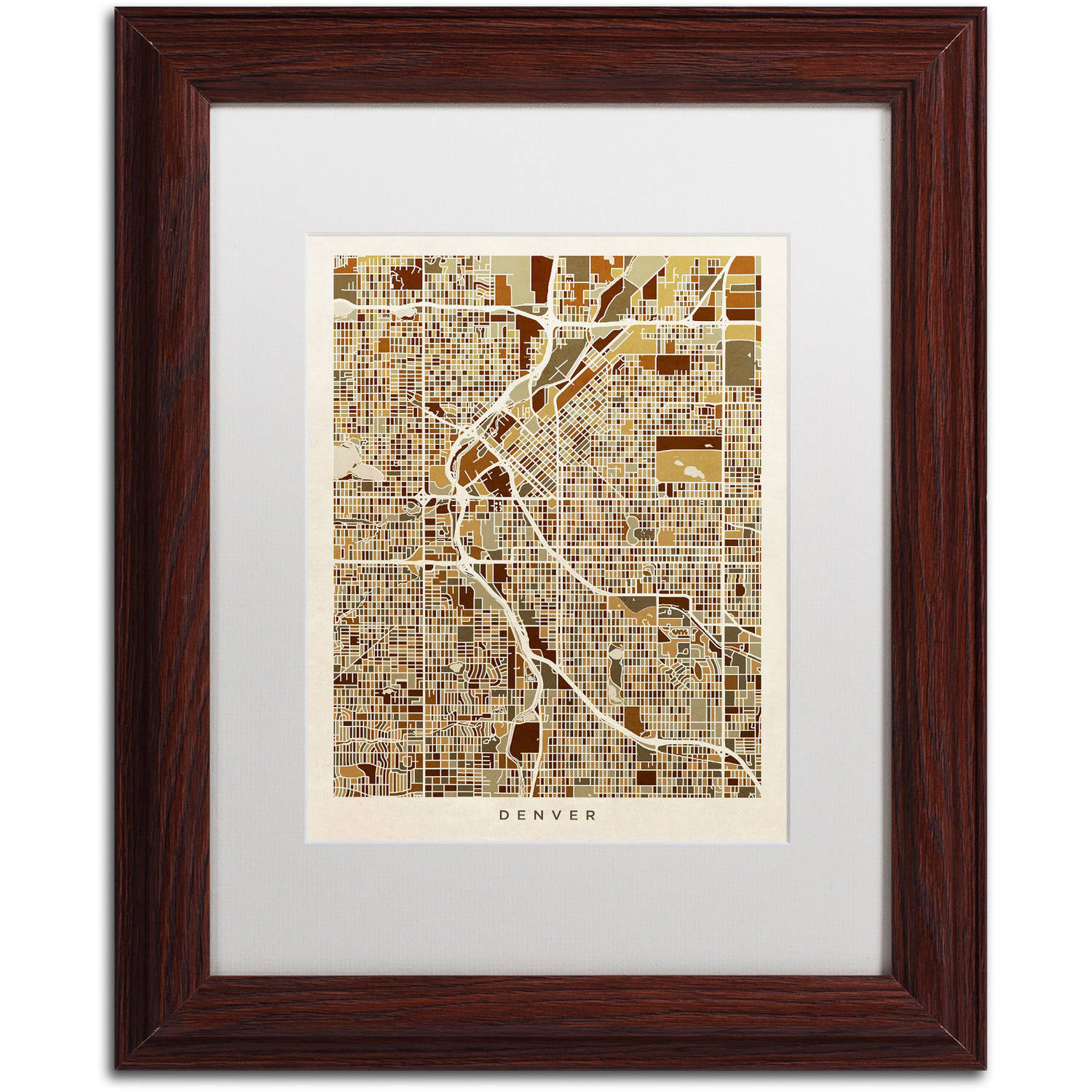 "Trademark Fine Art ""Denver CO Street Map Brown"" Canvas Art by Michael Tompsett, White Matte, Wood Frame"