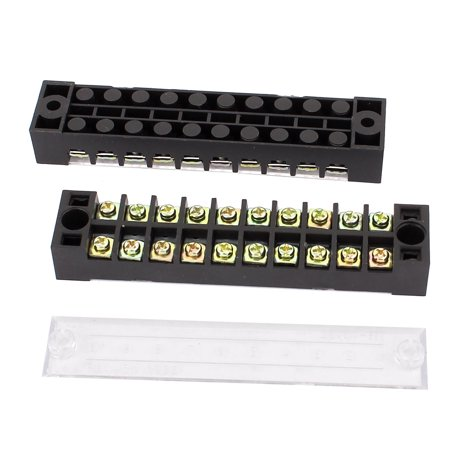 2 pcs 600v 15a dual row 10 positions screw connection barrier terminal strip. Black Bedroom Furniture Sets. Home Design Ideas