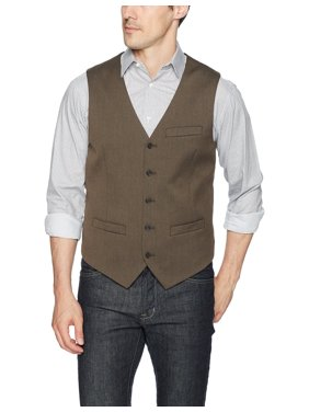 Perry Ellis NEW Brown Mens Size Medium M Five Button Three Pocket Vest