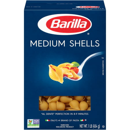 (4 pack) Barilla Pasta Medium Shells, 16.0 OZ (Halloween Pasta Noodles)