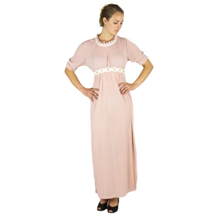 Modest Lace (Sakkas Isabis Womens Casual Long Lace Modest Dress with Short Sleeves Stretchy - Pink - X-Large )