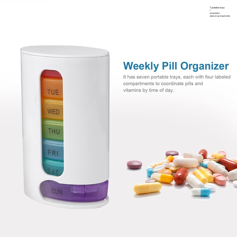 Compact Portable Weekly Pill Organizer Mini Pills Storage Box Medicine Container 7 Days Stackable Pills Vitamins Organizer