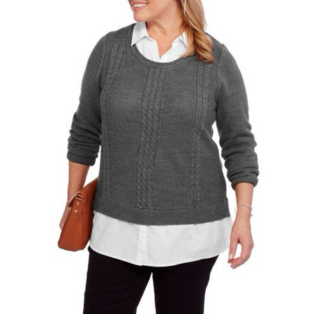 Faded Glory Womens Plus Twofer Sweater With Built In Collared Shirt