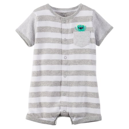 Carters Baby Clothing Outfit Boys Snap-Up Cotton Romper Monster Stripe Gray](Monster Outfit)