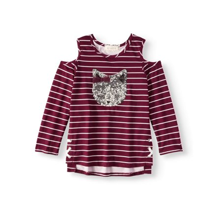 Cold Shoulder Sequin Cat Striped Long Sleeve Shirt (Little Girls)