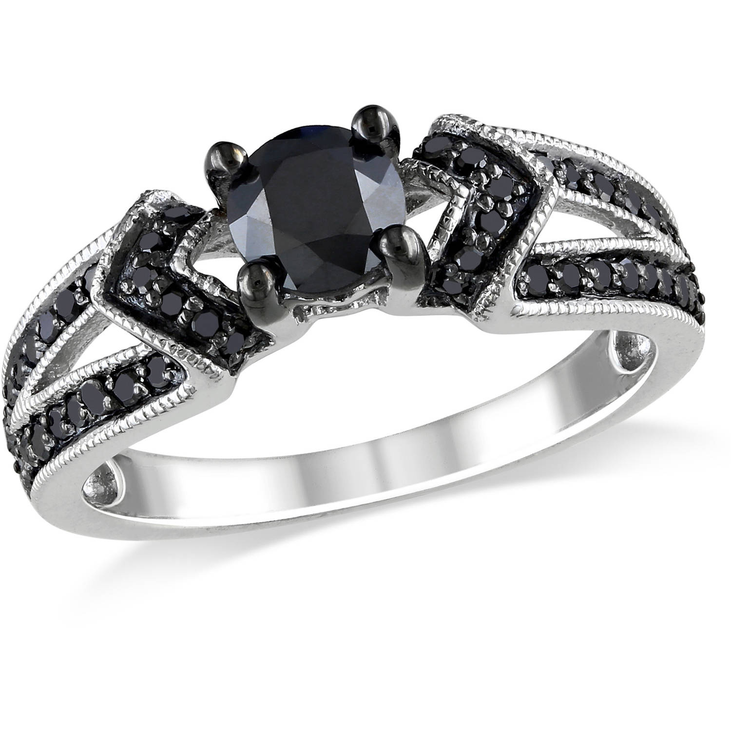 1 Carat T.W. Black Diamond Sterling Silver Engagement Ring