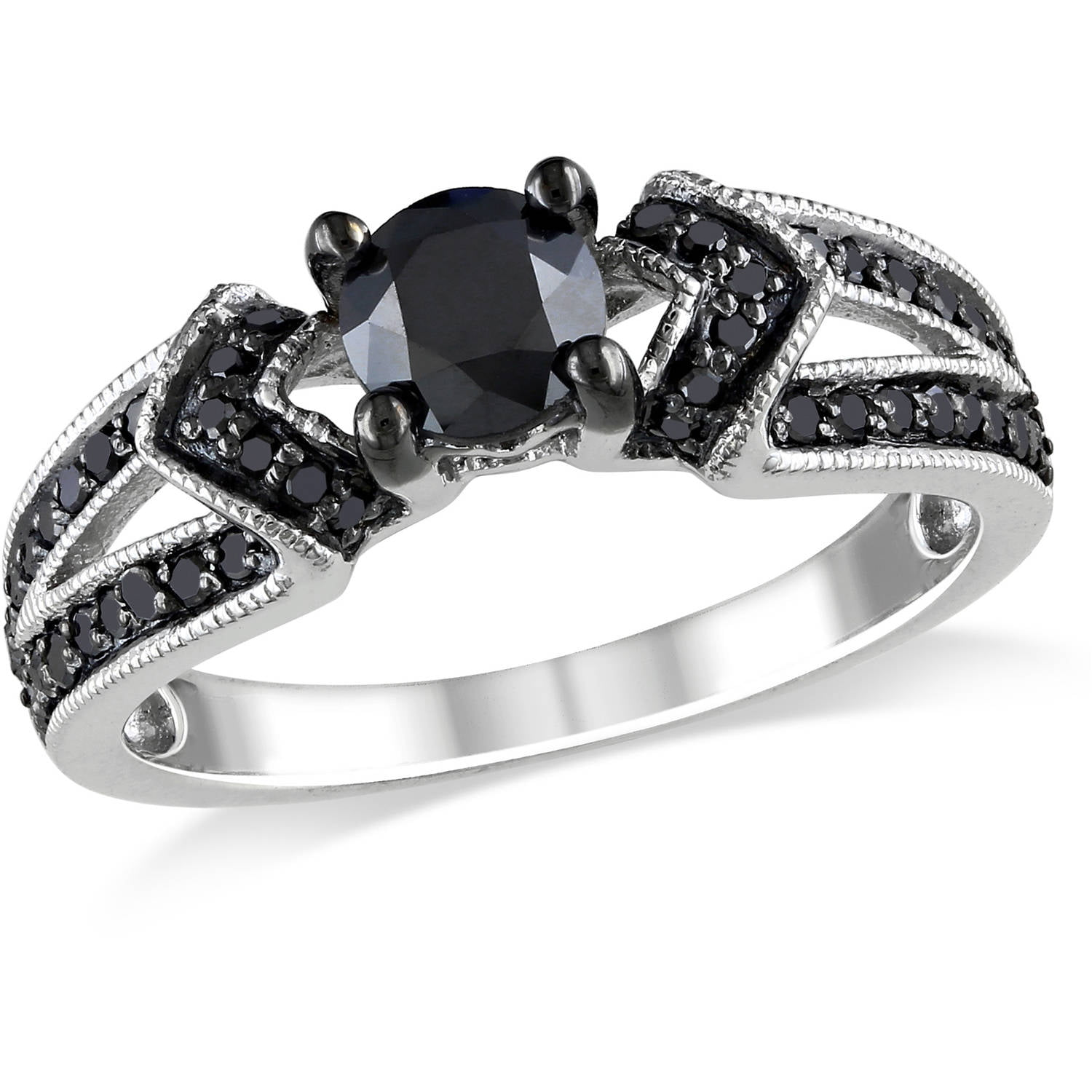 1 carat t w black diamond sterling silver engagement ring