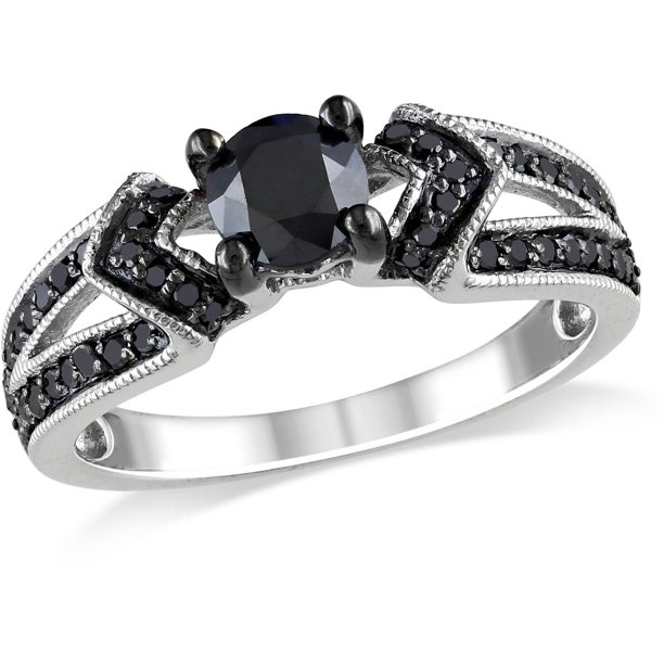 Miabella 1 Carat T W Black Diamond Sterling Silver Engagement Ring Walmart Com Walmart Com
