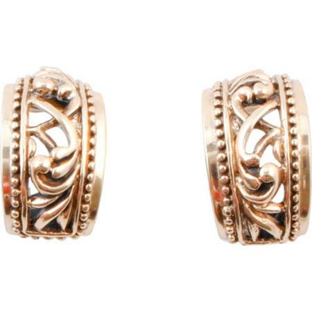 Gold Genuine Amethyst Earring - Women's Barse Bronze Scroll Clip Earring BCRVE07BZ