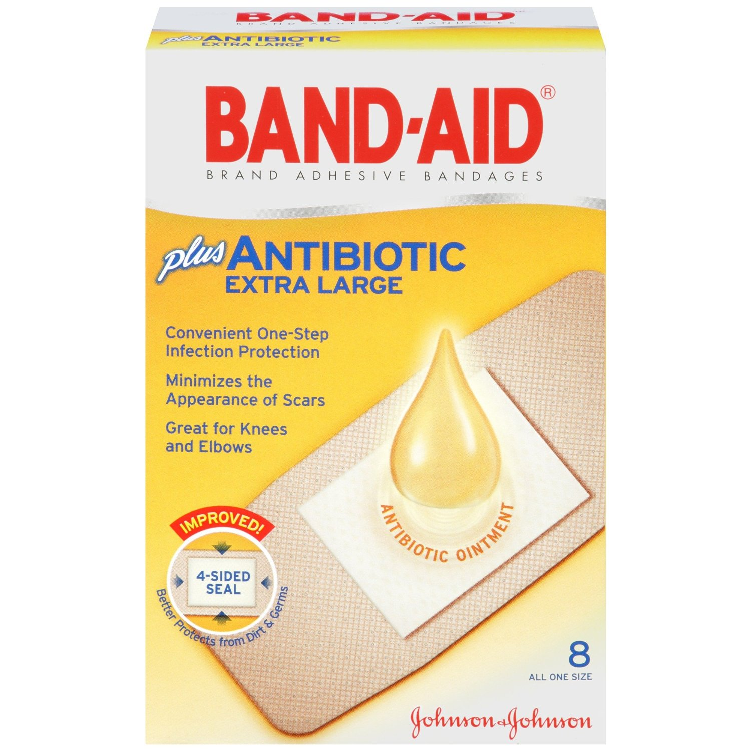 6 Pack Band-Aid Adhesive Bandages Plus Antibiotic Extra Large - 8 Count Ea