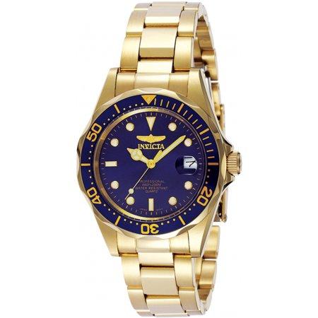 Invicta Men's Pro Diver GQ 8937 Blue Gold Tone Quartz Diving Watch Fundraising Gold Watch