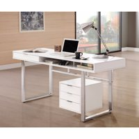 Contemporary Style Wooden Writing Desk, White
