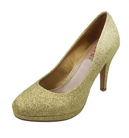 Amiana Women's Pump, Gold Glitter, 9 US