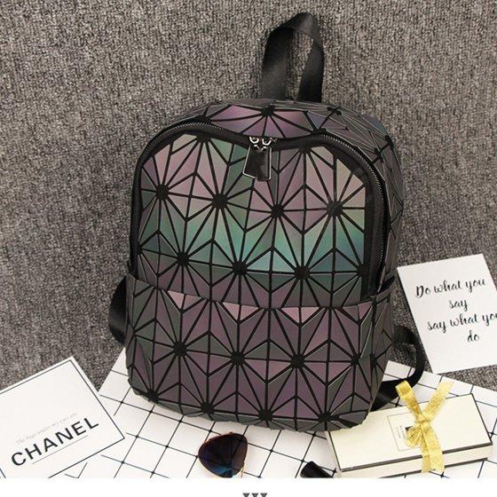 b9816a300012 WEIJU - Mini Geometric Luminous Backpack Fashion Lattice Holographic  Reflective Shoulder Bag Women Lingge Leather School Bag - Walmart.com