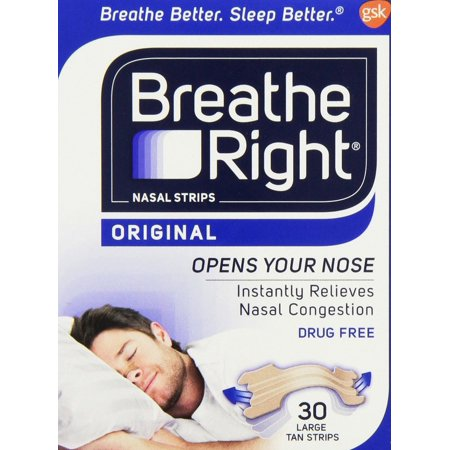 Breathe Right, ORIGINAL Nasal Strips 30 LARGE TAN Strips Breathe Right Nasal Strips