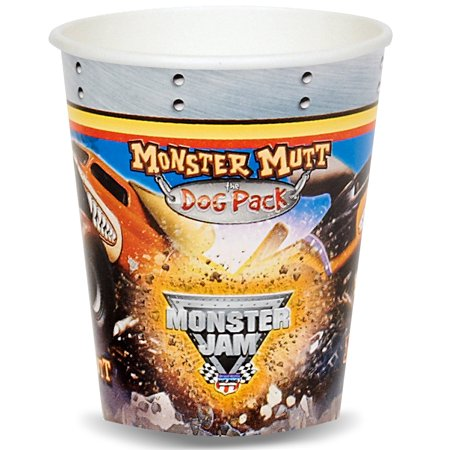 Monster Jam Party Supplies 8 Pack Paper Cups (Monster Jam Birthday Party Supplies)