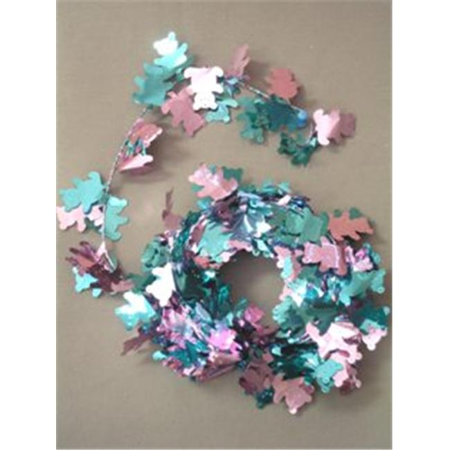 Party Deco 04542 12 ft.  Pink and Blue Teddy Bears Wire Garland - Pack of 12