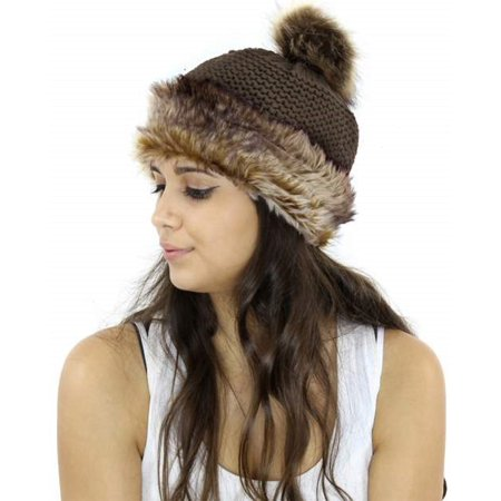ForeverScarf - Women s Winter Hand Knit Faux Fur Pom Pom Beanie Hats  (HT115-KK) Women s Winter Hand Knit Faux Fur Pompoms Beanie Hat -  Walmart.com 34df02047