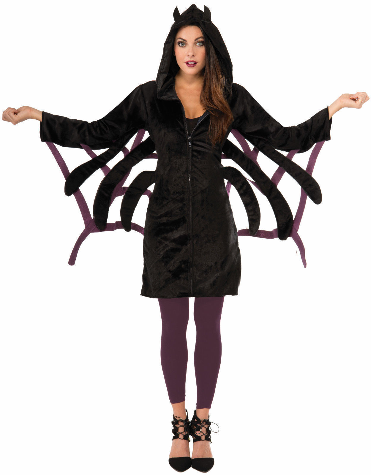 spider hoodie halloween costume adult womens black purple hood