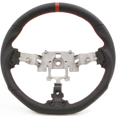 Handkraftd 05-14 Mazda Miata NC Flat Bottom Steering Wheel - Black w/ Red Stitch (Miata Steering Wheel Hub)