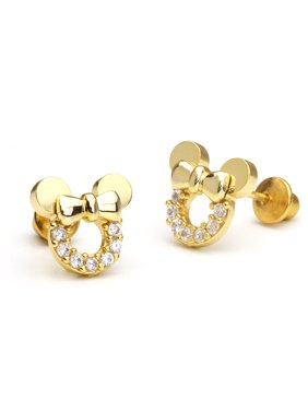 Product Image 14k Gold Plated Br Mouse Cubic Zirconia Back Baby S Earrings With Sterling Silver Post