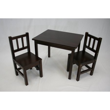 ehemco kids table and 4 chairs set solid hard wood espresso. Black Bedroom Furniture Sets. Home Design Ideas