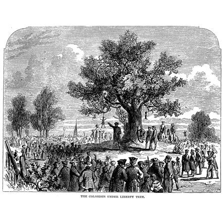 Boston Stamp Act Riot 1765 Nbostonians Protesting The Stamp Act By Hanging An Effigy Of Stamp Agent Andrew Oliver From The Liberty Tree In Newbury Street On 14 August 1765 (10 Newbury Street)