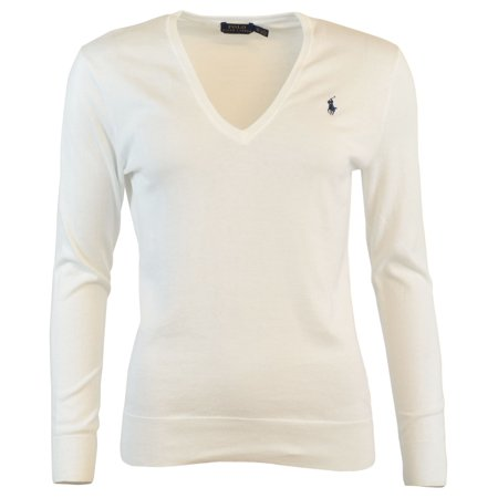 Polo Ralph Lauren Womens Pima Cotton V-Neck Logo (Yves Saint Laurent Silk Sweater)