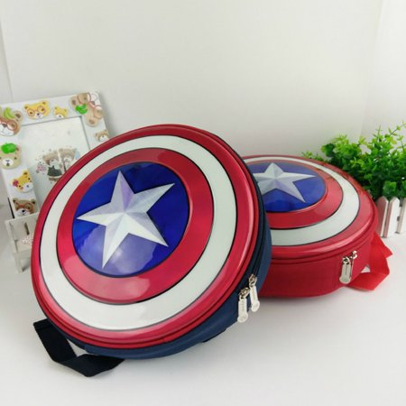 Kids Captain America Shield Backpack Marvel Avengers Superhero School Bag