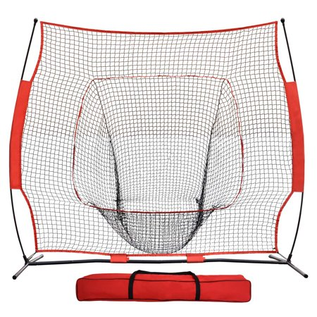 Schutt Training Baseball - Ktaxon 7' x 7' Portable Baseball Pitching Net Training, Softball Goal Net with Bow Frame, Carry Bag, for Hitting Batting Practice, Red