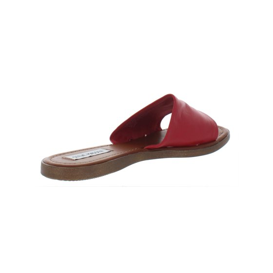 92c5b26f95d Steve Madden Womens Camilla Leather Flats Slide Sandals Red 8 Medium (B,M)