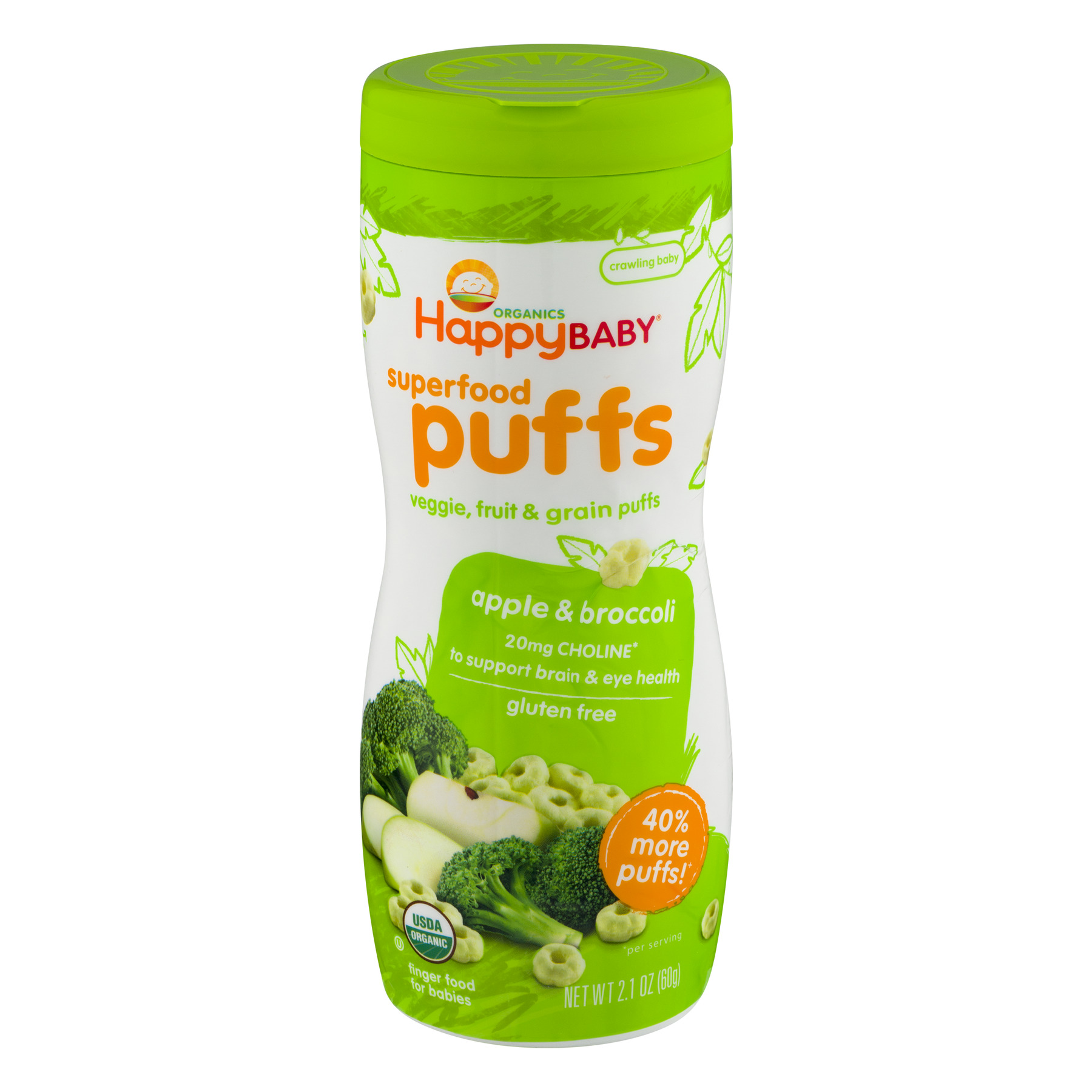 HappyBaby Organics Superfood Puffs Apple & Broccoli, 2.1 OZ