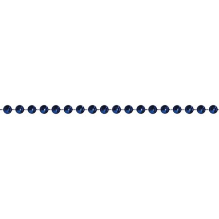 15' Shiny Metallic Sapphire Blue Beaded Christmas Garland