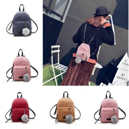 Women Mini Corduroy Backpack Girls School Bags Small Travel Handbag Shoulder - Ascot Mini Travel Bar