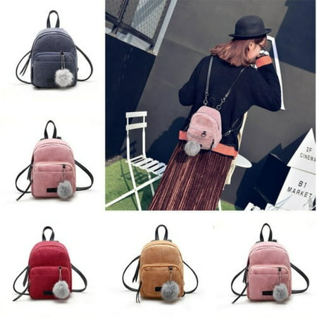 Cool Girls Backpacks (Women Mini Corduroy Backpack Girls School Bags Small Travel Handbag Shoulder)