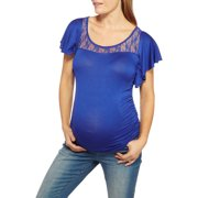 Maternity Batwing Sleeve Tee with Lace Top Detail