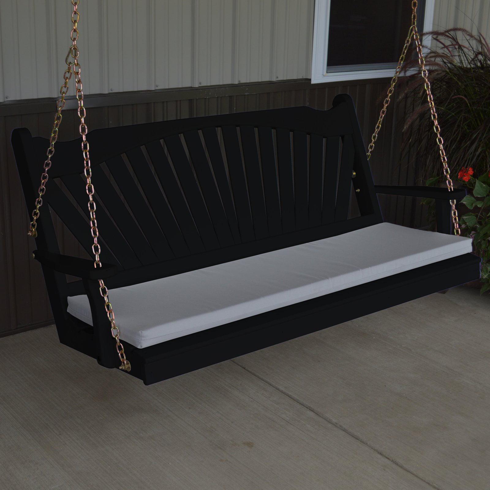 A & L Furniture Yellow Pine Fanback Porch Swing
