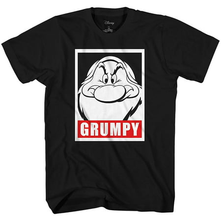 Disney Men's Snow White and Seven Dwarfs Grumpy Frame Face Disneyland World Retro Classic Vintage Tee Funny Humor Adult Mens Graphic T-Shirt Apparel