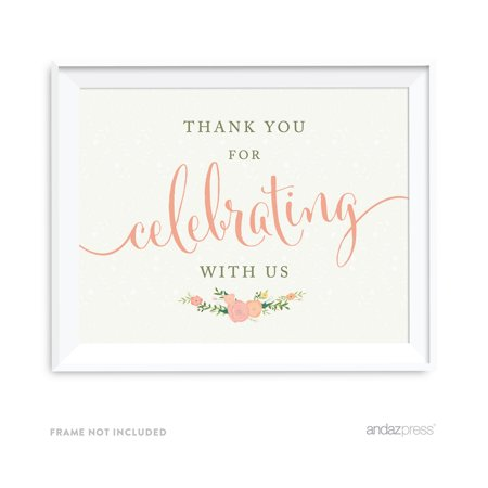 Thank You For Celebrating With Us! Floral Roses Girl Baby Shower Party Signs for $<!---->