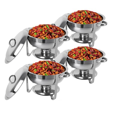 Ktaxon 5 Quart 4Pcs Chafing DishBuffet Catering , Stainless Steel Round Buffet Chafer