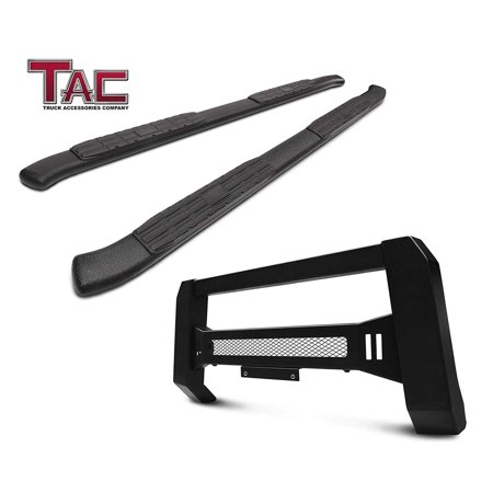"TAC Running Boards & Modular Bull Bar Combo Fit 2009-2018 Dodge Ram 1500 Quad Cab (Excl. Rebel Model / Incl. 2019 Ram 1500 Classic) 4.25"" Texture Black Side Steps Nerf Bars & Front Bumper Brush Guard (Black Label Running Rebels)"
