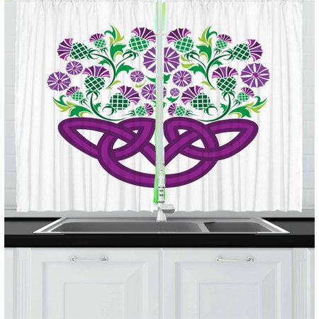 Thistle Curtains 2 Panels Set, Celtic Knot and Thistle Plant in Basket Form with Flowers, Window Drapes for Living Room Bedroom, 55W X 39L Inches, Shamrock Green Violet ans Purple,