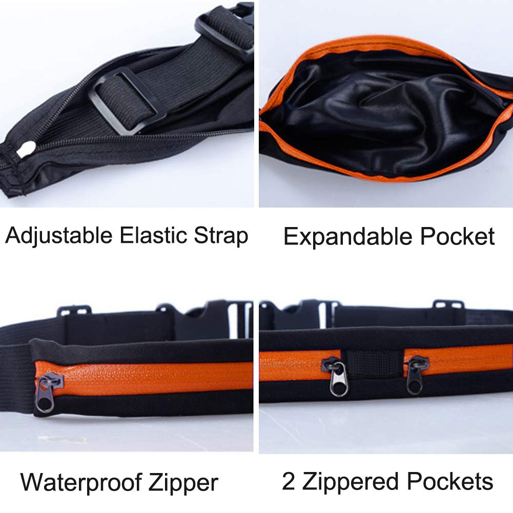 Sweat Resistant Runners Belt Fanny Pack Mobile Phone Pouch Bag for Hiking Cycling Climbing Jogging and for 6.5 inches Smartphones Running Belt Slim Waist Pocket Belt with 2 Expandable Pockets