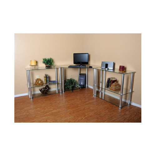 RTA Home And Office Corner Computer Desk with 2 42'' Modular Extensions