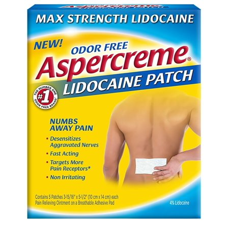 Aspercreme Max Strength Pain Relieving Lidocaine Patch , 3.94 x 5.5 -Inch (5