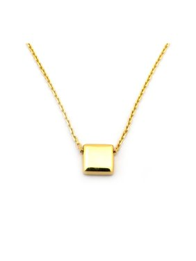 14k Yellow Gold Small Moving Square 17 Necklace