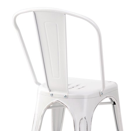 Costway Set of 4 Distressed Style Dining Side Chair Stackable Bistro Cafe Metal White - image 8 de 10