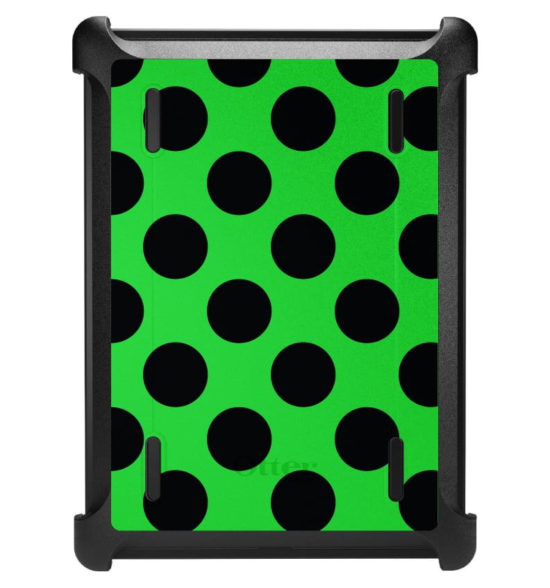 CUSTOM Black OtterBox Defender Series Case for Apple iPad Air 1 (2013 Model) - Black & Green Polka Dots