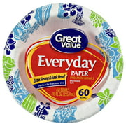 Great Value Everyday Paper Premium Bowls, 60 Count