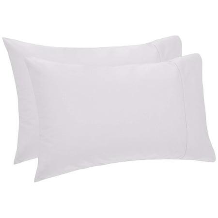 Organic Cotton Sateen Pillow Cases - Beauty Threadz 400-Thread-Count Egyptian Cotton Sateen Hemstitch Pillowcases - Standard White (Set of 2)
